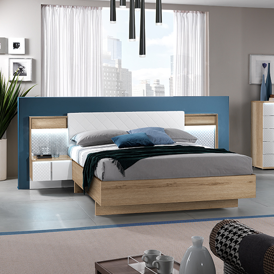 Urbino LED King Size Bed In Oak And White With 2 Nightstands
