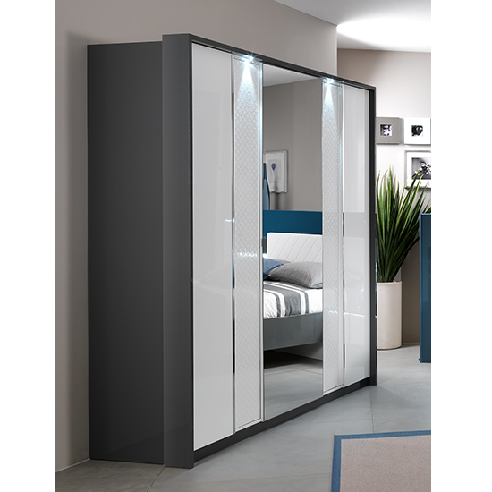 Urbino LED Wooden Wardrobe In Grey And White With 3 Doors