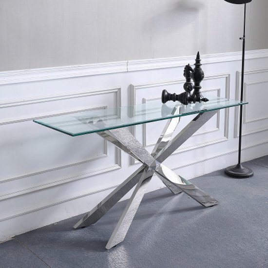 Urvin Clear Glass Console Table With Silver Stainless Steel Legs