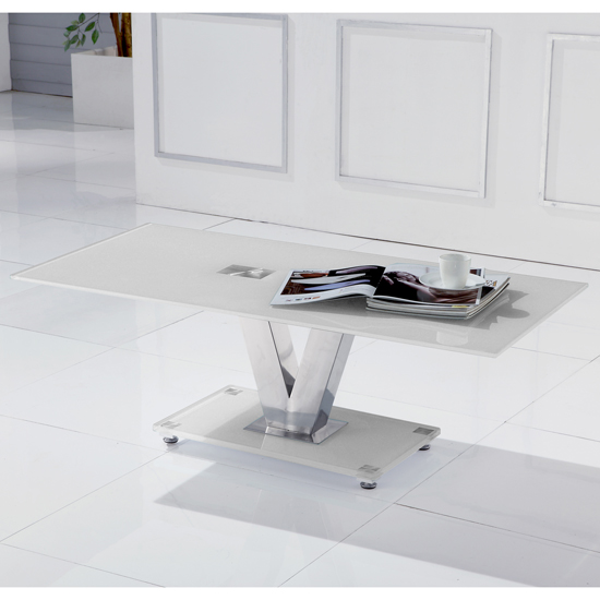 v coffee wht - 4 Variations Of A White Glass Coffee Table Set