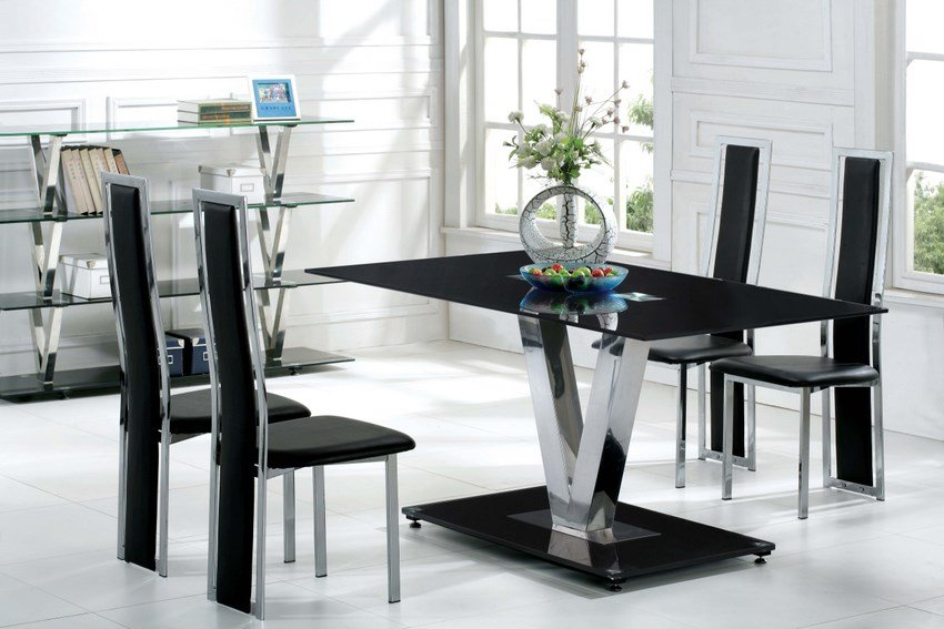 Black Glass V Shape Dining Table With 6 Black Dining Chairs
