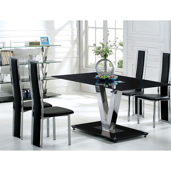 Dining Table Chairs Only: V Range Black Glass Dining Table In 160cm Only
