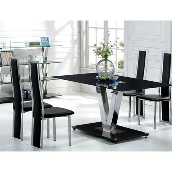 Black Dinner Table: V Range Black Glass Dining Table In 160cm Only 21282