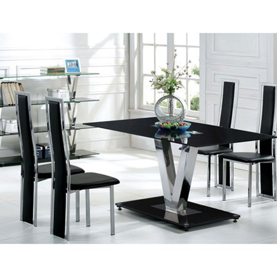V Range Black Glass Dining Table In 160cm Only