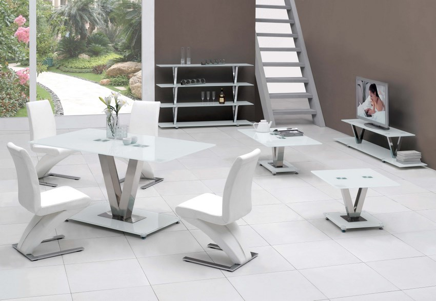 V White Glass Dining Table Only