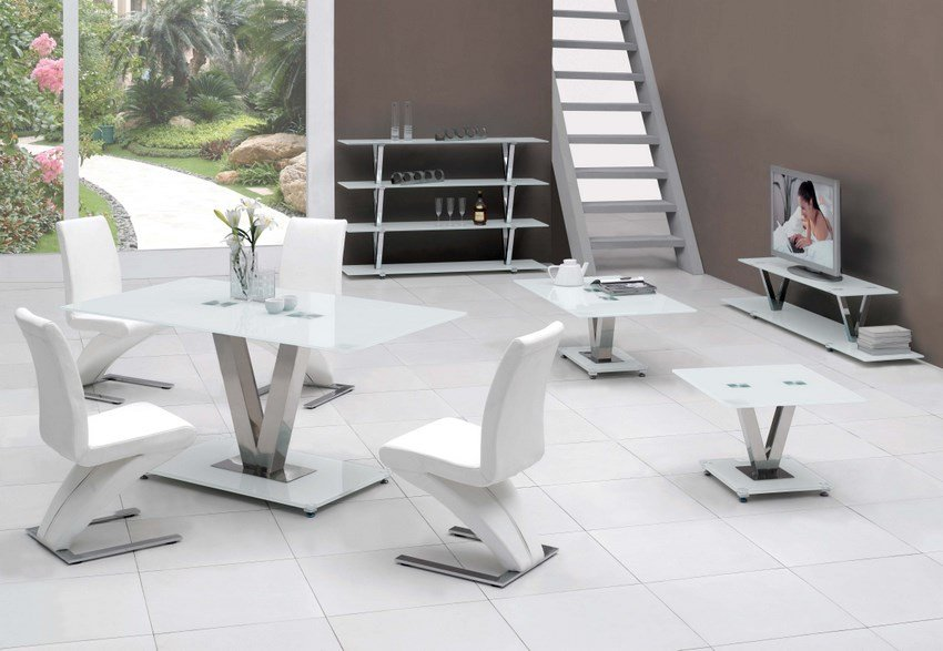 V white glass dining table only 2882 furniture in fashion for Furniture in fashion