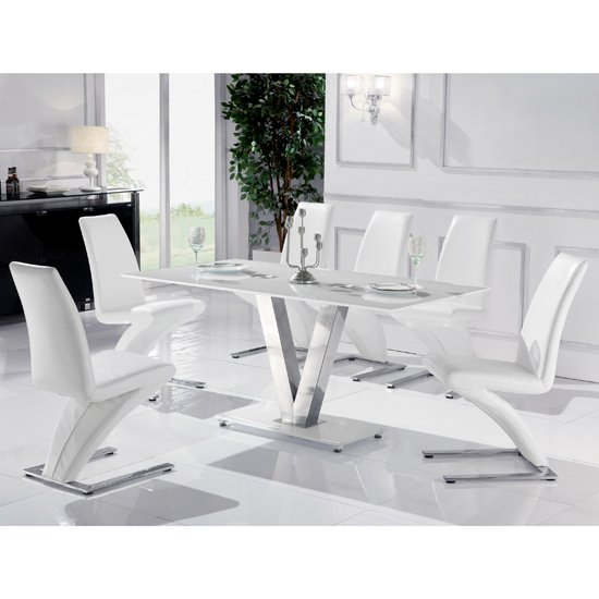 Mario Dining Table In White Glass Top With 6 White Dining Chairs For