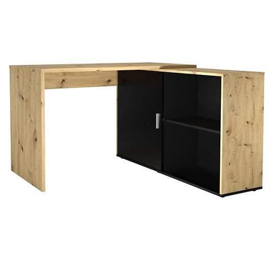 Vacaville Corner Storage Computer Desk In Artisan Oak And Black