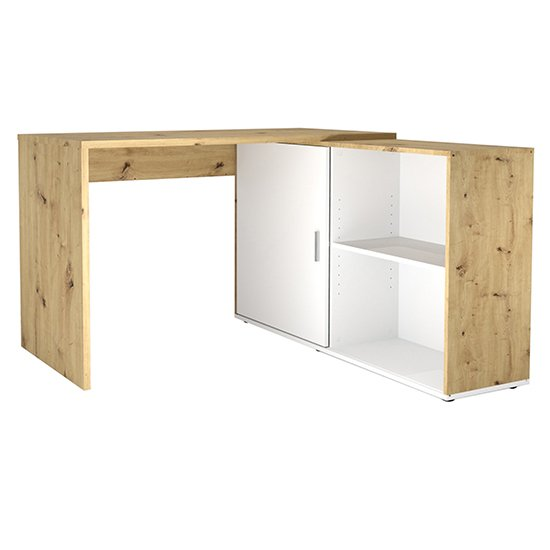 View Vacaville corner storage computer desk in artisan oak and white