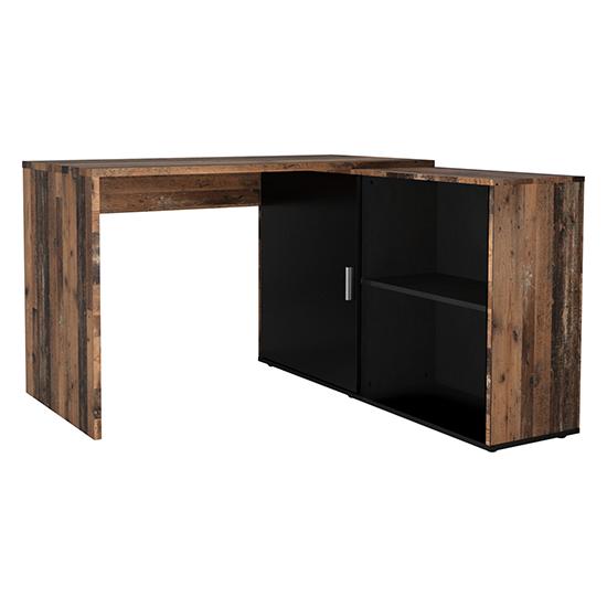 View Vacaville corner storage computer desk in old style dark black