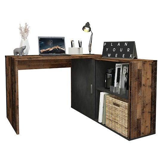 View Vacaville corner storage computer desk in old style dark matera