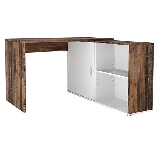 View Vacaville corner storage computer desk in old style dark white