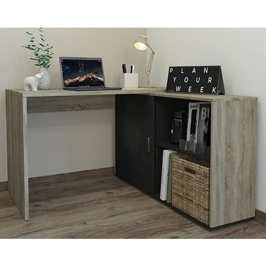 View Vacaville corner storage computer desk in sonoma oak and matera