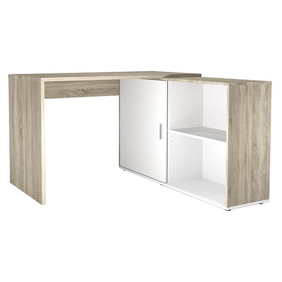 View Vacaville corner storage computer desk in sonoma oak and white