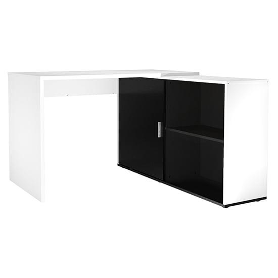 View Vacaville corner storage computer desk in white and black