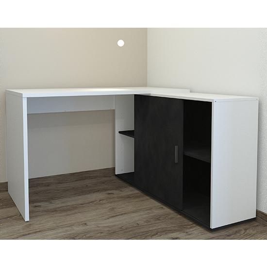 View Vacaville corner storage computer desk in white and matera