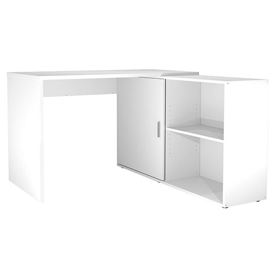 View Vacaville corner storage computer desk in white