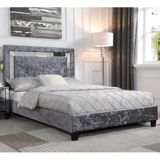 best website 26b3c 550cc Valdina Double Bed In Crushed Velvet Silver With Mirror Edge Headboard