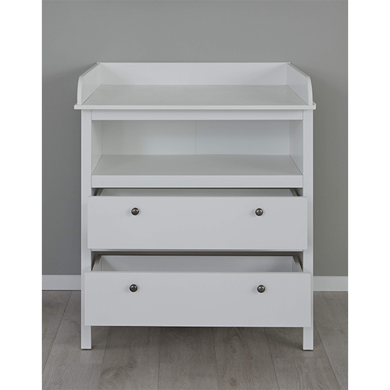 Valdo 2 Drawers Storage Cabinet With Changer Top In White_2