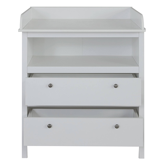 Valdo 2 Drawers Storage Cabinet With Changer Top In White_4