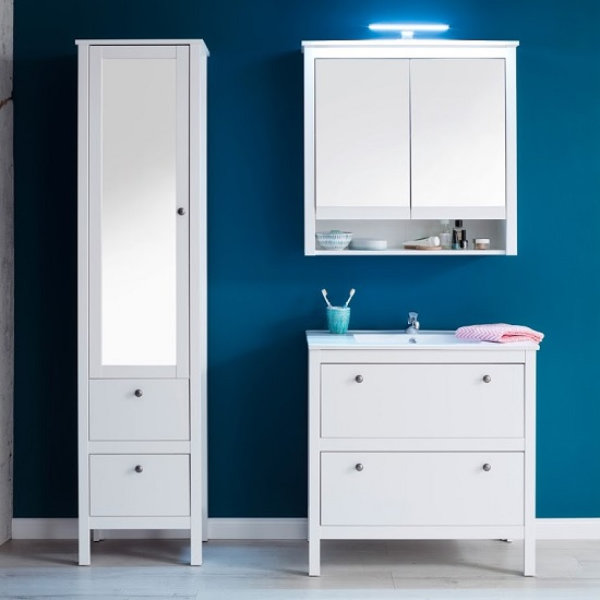 Valdo Wooden Bathroom Furniture Set In White With LED_3