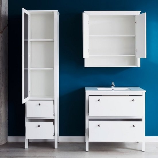 Valdo Wooden Bathroom Furniture Set In White With LED_2