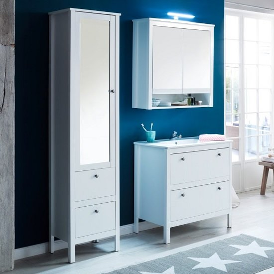 Valdo Wooden Bathroom Furniture Set In White With LED