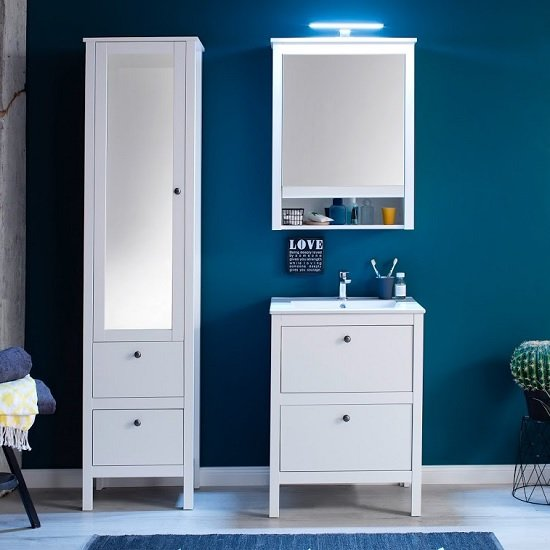 Valdo Mirrored Bathroom Wall Cabinet In White With LED_2