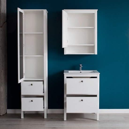 Valdo Mirrored Bathroom Wall Cabinet In White With LED_3