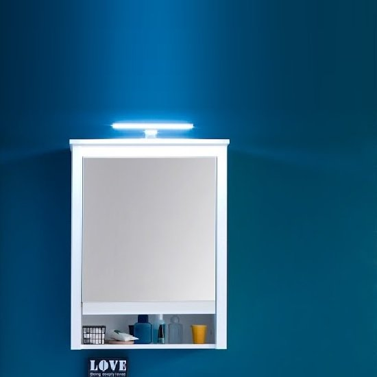 Valdo Mirrored Bathroom Wall Cabinet In White With LED_1