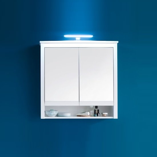 Valdo Mirrored Bathroom Wall Cabinet Wide In White With LED