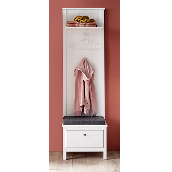 Valdo Wooden Coat Rack Panel With Seting Bench In White_1