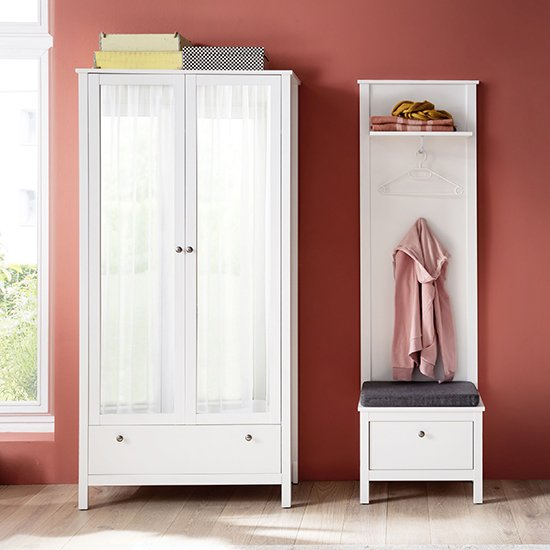 Valdo Wooden Hallway Furniture Set 12 In White