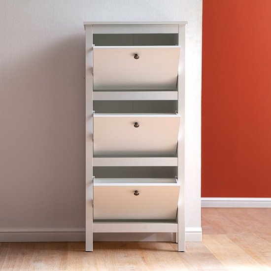 Valdo Wooden Shoe Storage Cabinet In White_2