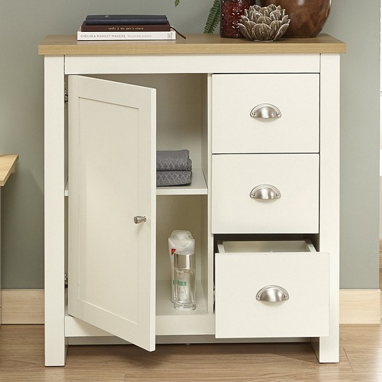 Valencia Wooden Storage Unit In Cream And Oak With 3 Drawers_2