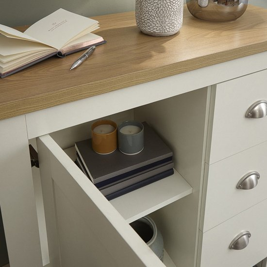Valencia Wooden Storage Unit In Cream And Oak With 3 Drawers_3