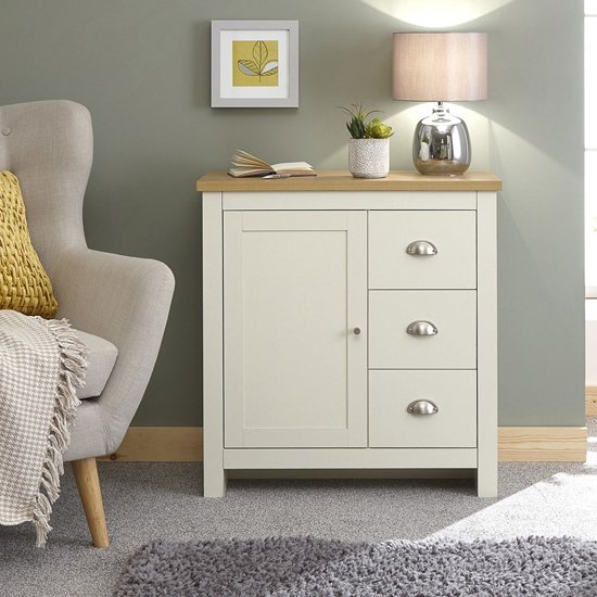 Valencia Wooden Storage Unit In Cream And Oak With 3 Drawers_1