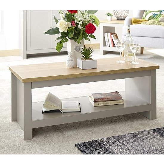 Valencia Wooden Coffee Table In Grey With Undershelf