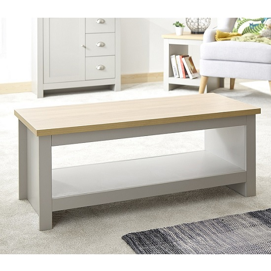 Valencia Wooden Coffee Table In Grey With Undershelf_2