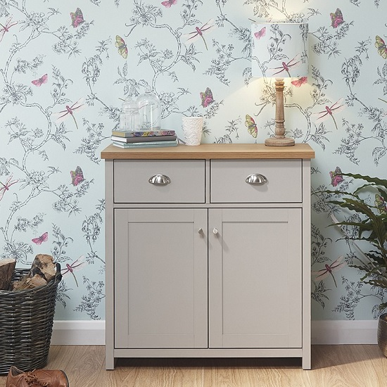 Valencia Wooden Compact Sideboard In Grey With 2 Doors
