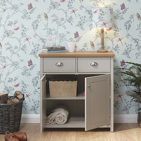 Valencia Wooden Compact Sideboard In Grey With 2 Doors_2