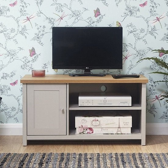 Valencia Wooden Small TV Stand In Grey With 1 Door_1