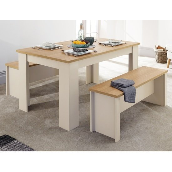 Valencia Wooden Dining Table With 2 Benches In Cream