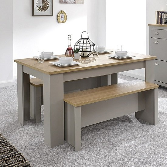 Valencia Wooden Dining Table With 2 Benches In Grey_1