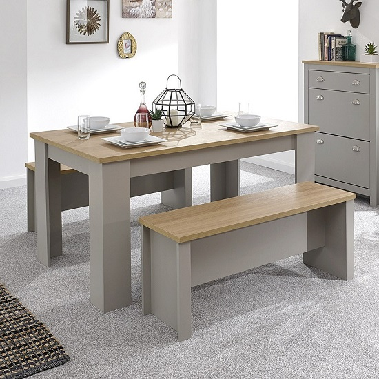 Valencia Wooden Dining Table With 2 Benches In Grey_2
