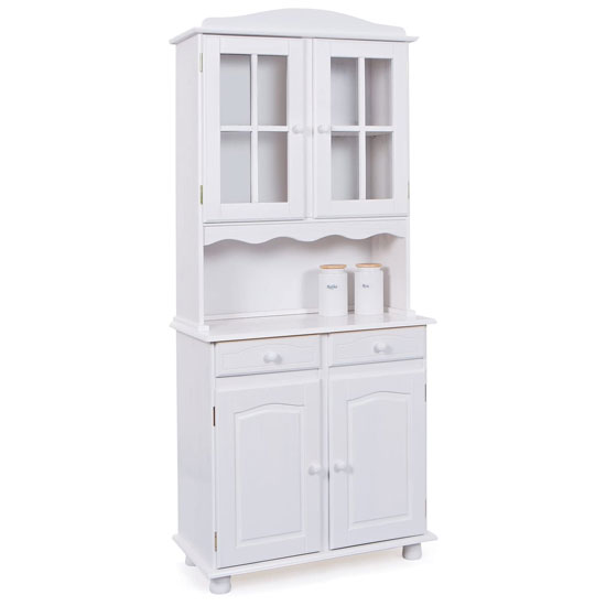 Valencia Display Cabinet In White Pine With 4 Doors And 2 Drawer
