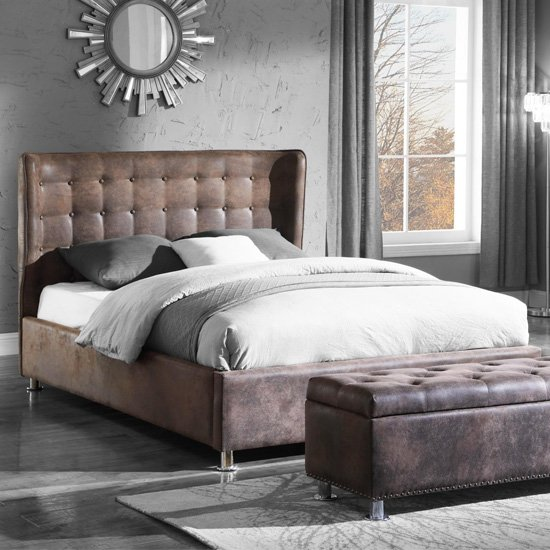Valencia Fabric King Size Bed In Antique Brown_1