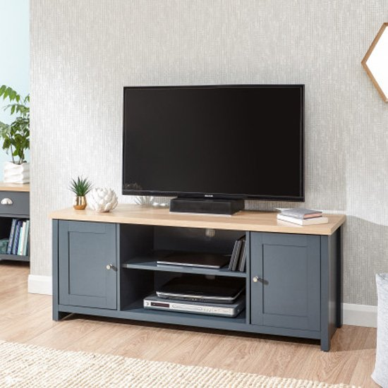 Valencia Large Wooden TV Stand In Slate Blue And Oak