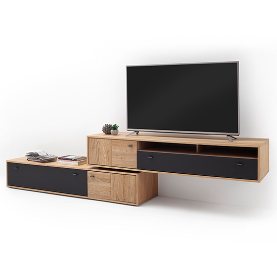 Valencia LED Living Room Furniture Set 3 In Oak And Anthracite_6