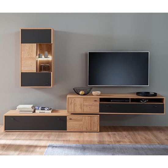 Valencia LED Living Room Furniture Set 3 In Oak And Anthracite_1